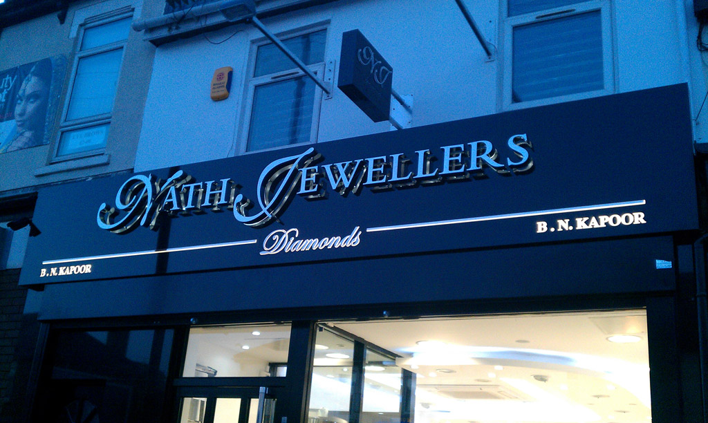 Stainless steel built up letters, with LED illumination